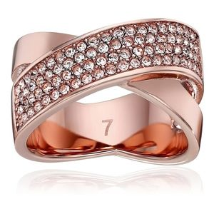 Michael Kors Criss Cross Ring Rose Gold Tone Pave